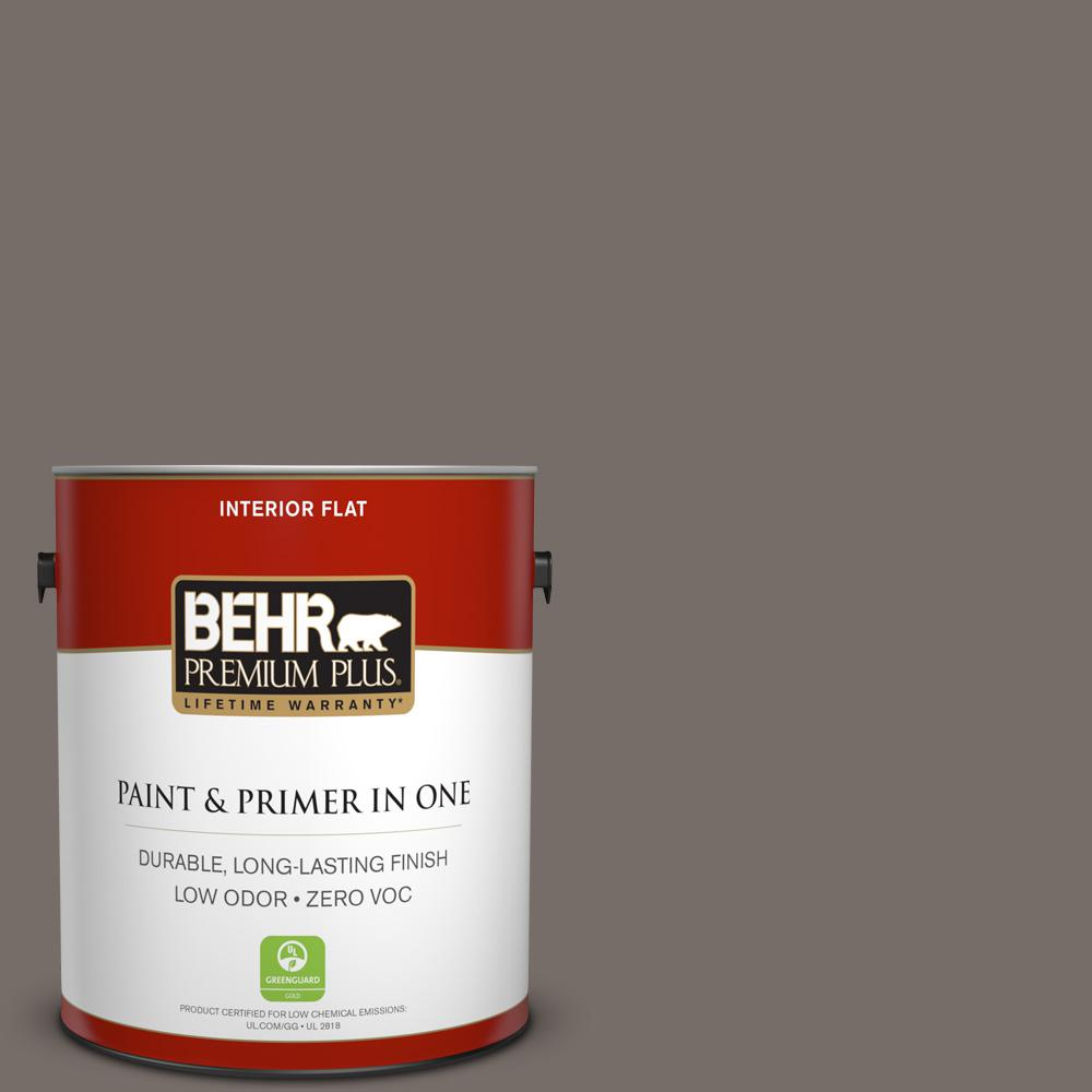 BEHR Premium Plus 1 gal. #bnc-37 Gray Owl Flat Zero VOC Interior Paint and Primer in One