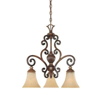 Montreaux 3-Light Burnished Walnut Downlight Chandelier with Navajo Dust Glass Shades