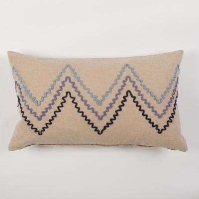 American Colors Linen and Embroidered Chevron Pillow