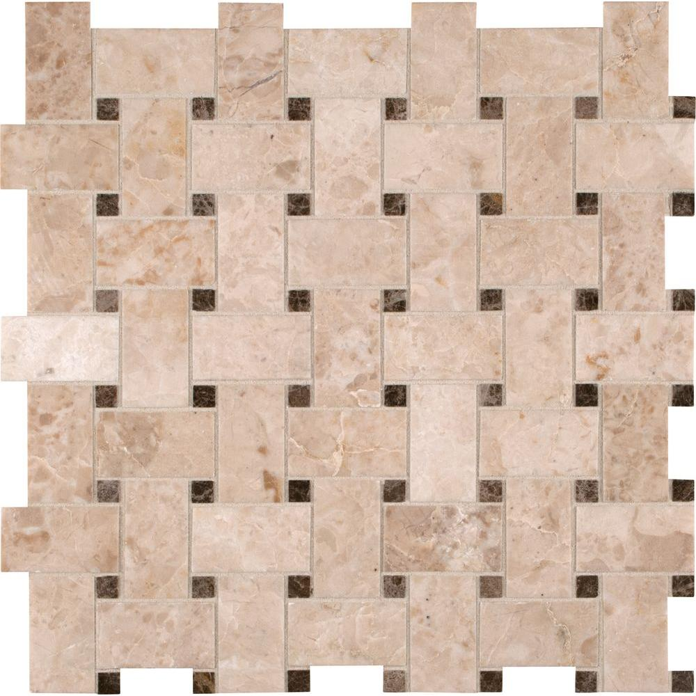 crema cappuccino basketweave 12 in x 12 in x 10 mm polished marble mesh