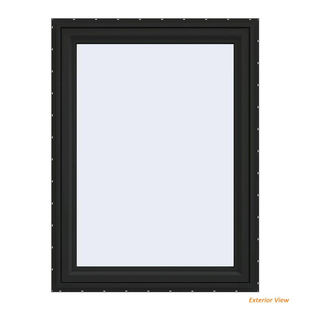 36 in. x 48 in. V-4500 Series Bronze FiniShield Vinyl Left-Handed Casement Window with Fiberglass Mesh Screen