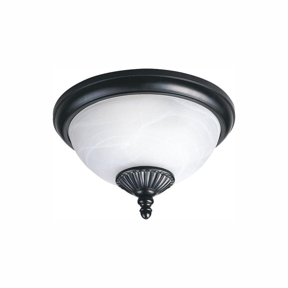 Sea Gull Lighting Yorktown Black 2-Light Outdoor Flush Mount with LED Bulbs