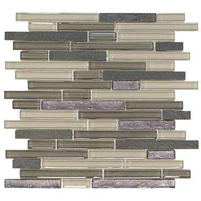 Silver Lace Ocean 11.875 in. x 13 in. x 8 mm Glass and Quartz Mosaic Wall Tile