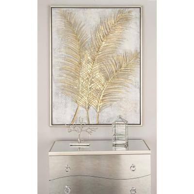 "48 in. x 36 in. ""Golden Palmtree Leaves"" Canvas Wall Art"