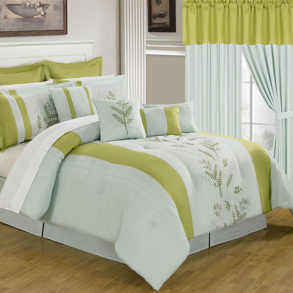 phyllis comforter dp piece green home kitchen embossed king manor com queen amazon avondale