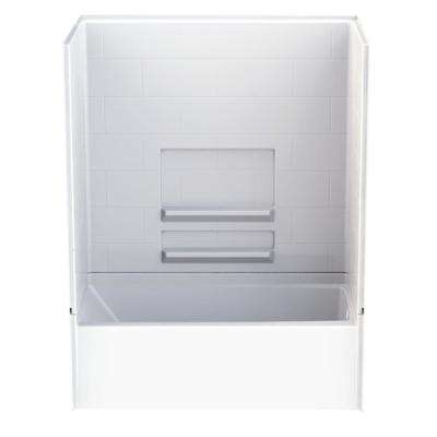 Remodeline Subway Tile 30 in. x 60 in. x 76 in. AcrylX Acrylic Finished 4-pc. Bath and Shower Kit w/Right Drain in White