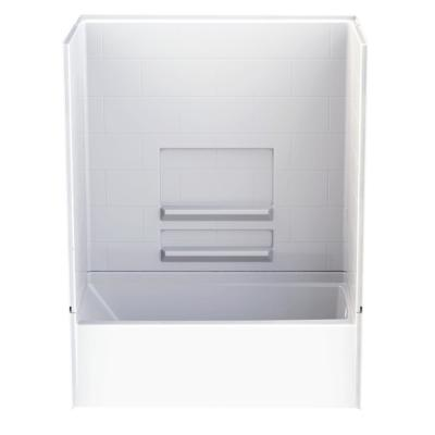 Varia Subway Tile 30 in. x 60 in. x 76 in. AcrylX Acrylic Finished 4-pc. Bath and Shower Kit w/Right Drain in White