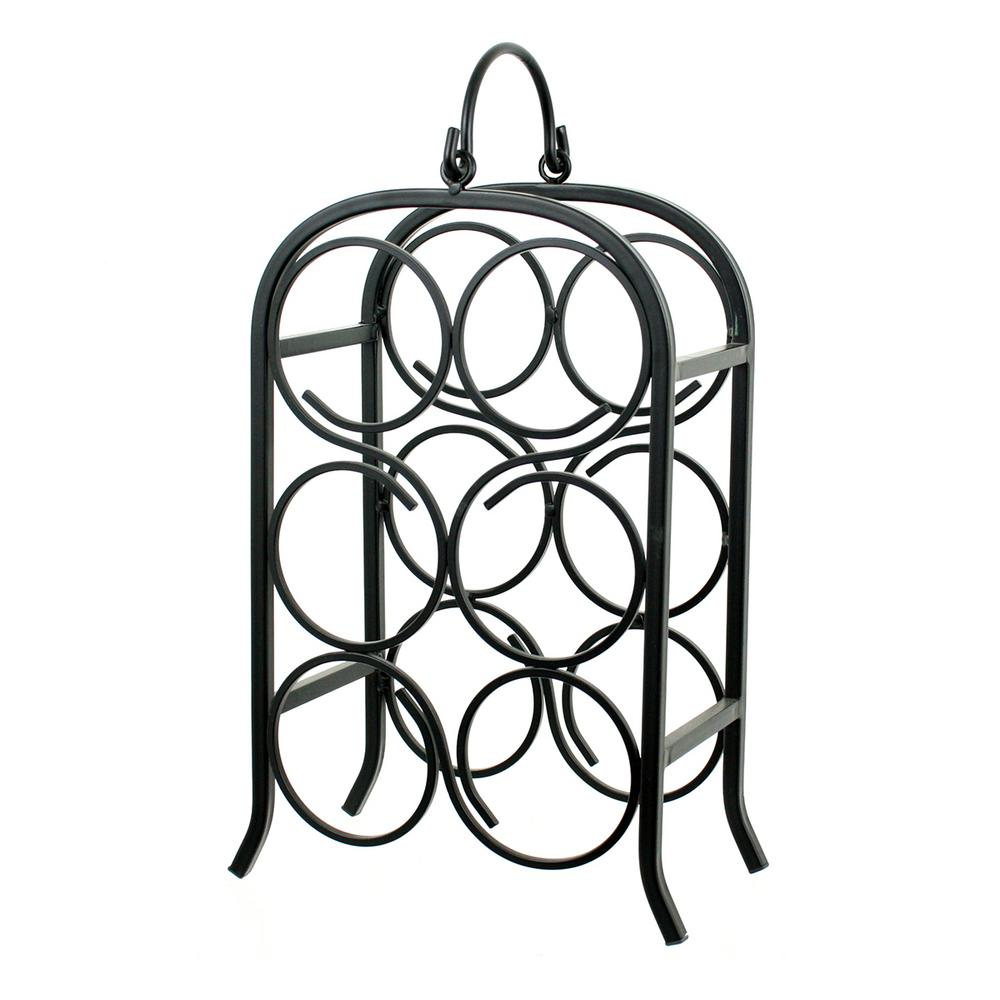Wine Arch 6-Bottle Black Rack