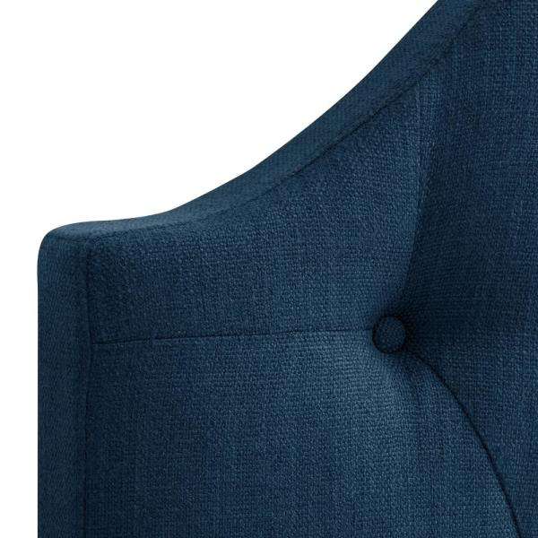Single//Twin CorLiving BBT-114-S Navy Blue Diamond Button Tufted Fabric Arched Panel Headboard