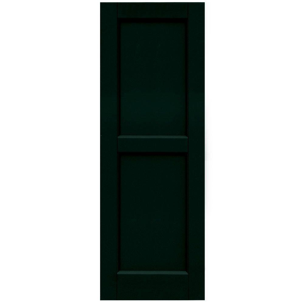 Winworks Wood Composite 15 in. x 43 in. Contemporary Flat Panel Shutters Pair #654 Rookwood Shutter Green