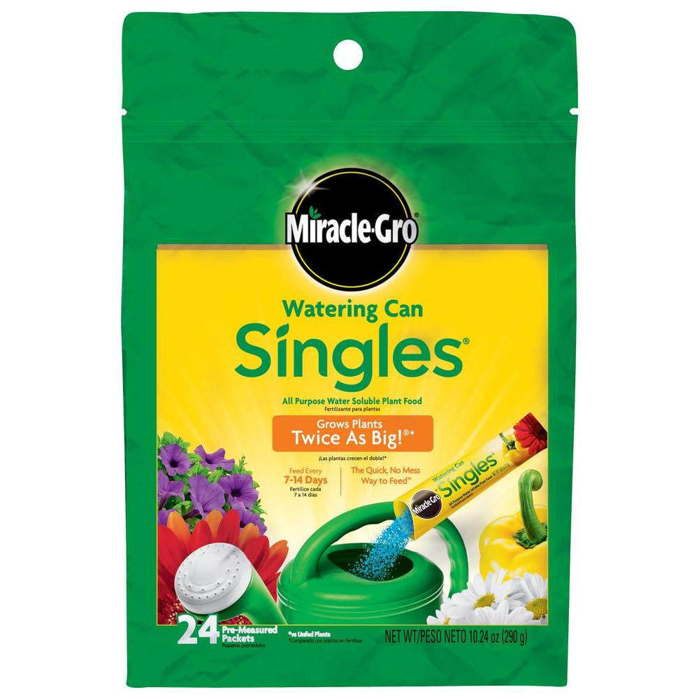 Miracle Gro Watering Can Singles Water Soluble Plant Food Packets 24 Pack