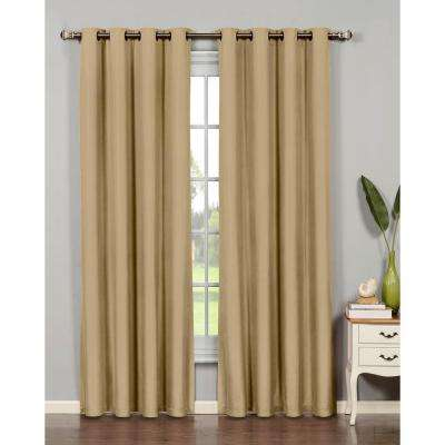 Semi-Opaque Emma Microfiber Extra Wide 84 in. L Room Darkening Grommet Curtain Panel Pair, Taupe (Set of 2)