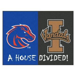 FANMATS NCAA Boise State/Idaho House Divided 2 ft. 10 inch x 3 ft. 9 inch Accent Rug by FANMATS