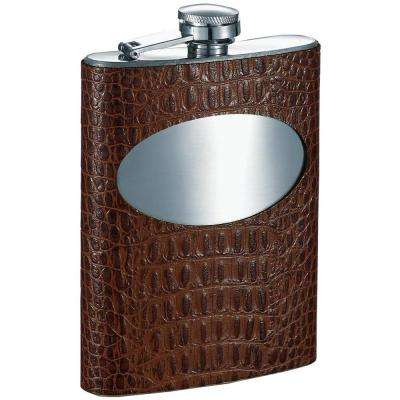 Wade Handcrafted Cognac Leather Stainless Steel Liquor Flask