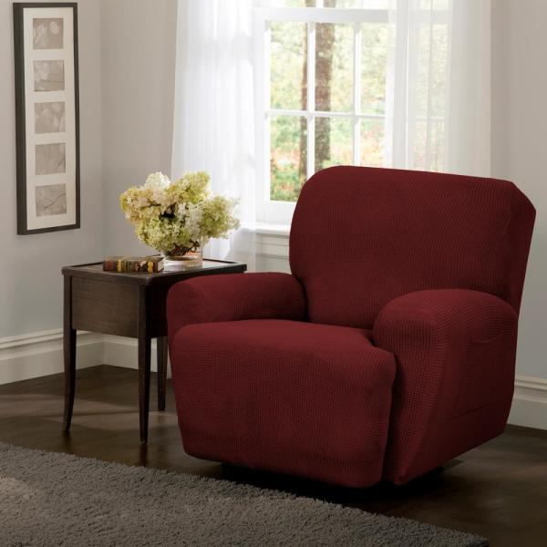 Maytex Reeves Stretch 4-Piece Red Recliner Slipcover 4100509jRED ...