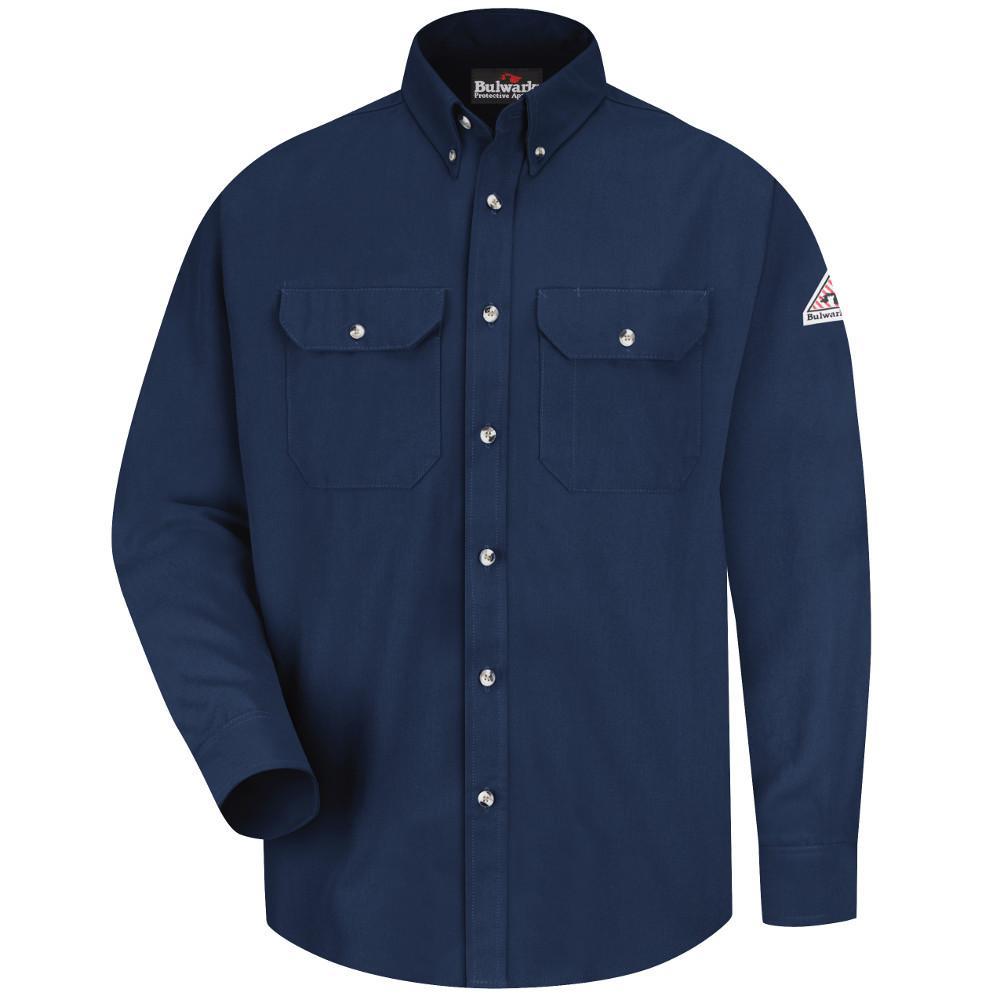 Uniform Mens The Band Collar Button-Down Shirt L Navy