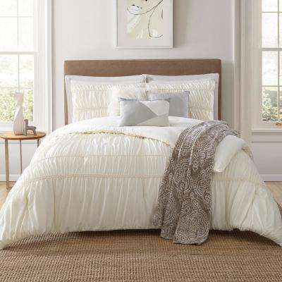 Belovo 7 Piece Beige King Comforter Set