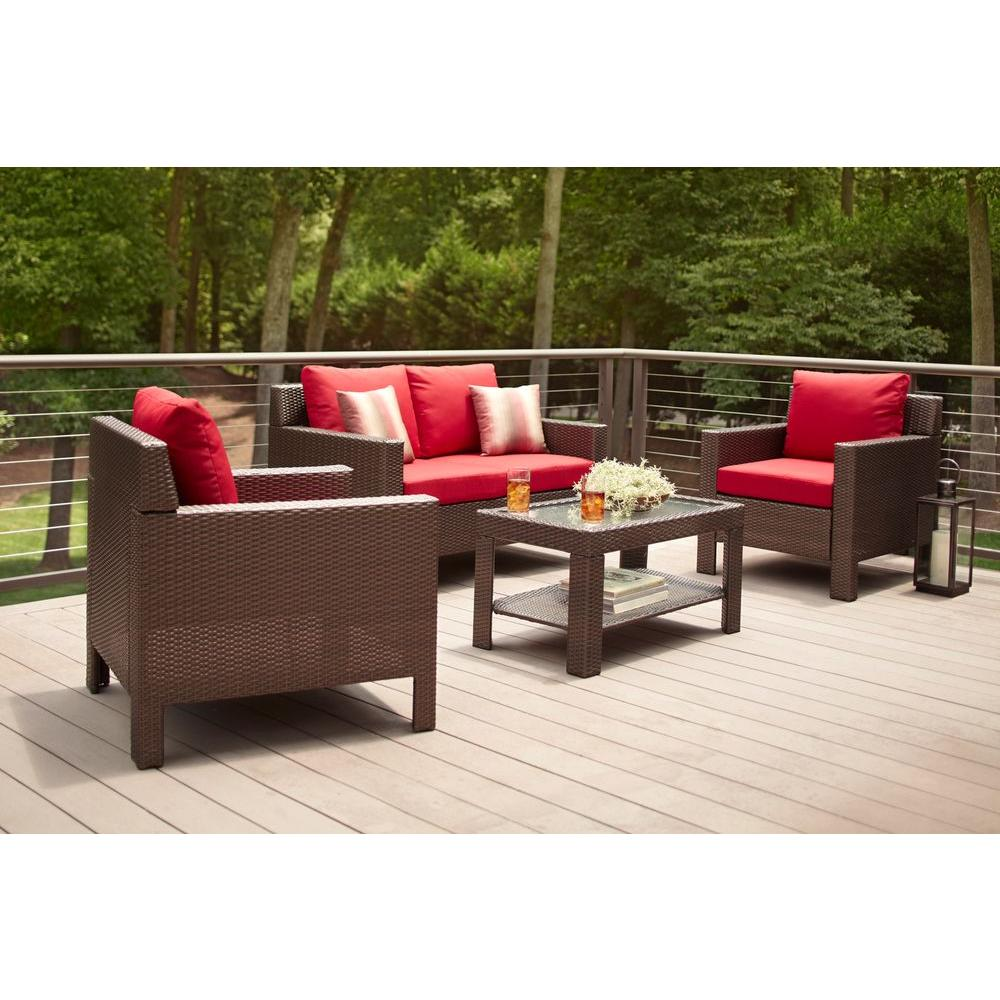 Hampton Bay Beverly 4-Piece Patio Deep Seating Set with Cardinal Cushions