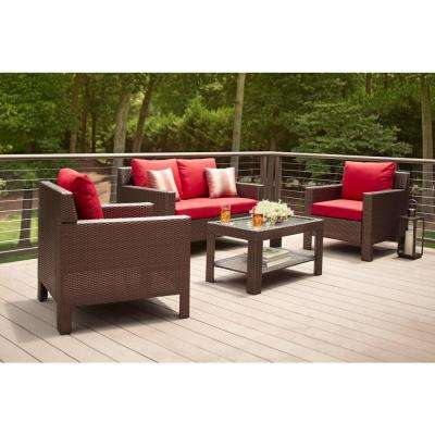 Beverly 4-Piece Patio Deep Seating Set with Cardinal Cushions - Patio Conversation Sets - Outdoor Lounge Furniture - The Home Depot
