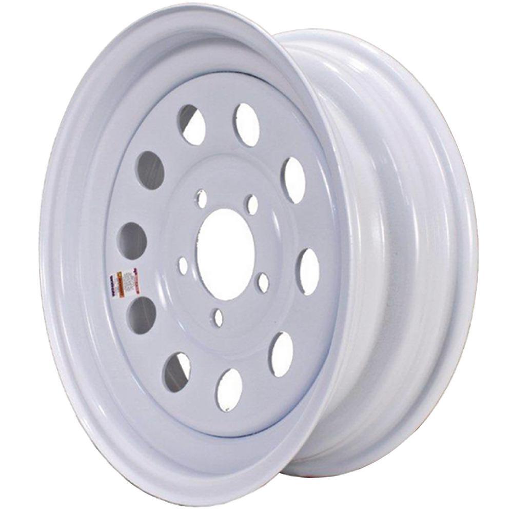 2040 lb. Load Capacity White Modular Steel Wheel Rim