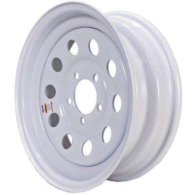 2150 lb. Load Capacity White with Stripe Modular Steel Wheel Rim