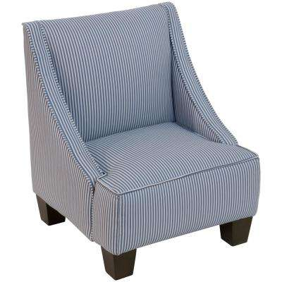 Oxford Stripe Navy Kid'S Swoop Arm Chair