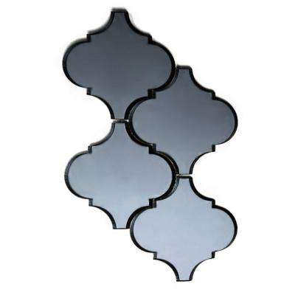 Echo Water jet Blue Gray Graphite Big Lantern 9 in. x 14 in. x 6.35 mm Mirror Glass Mosaic Tile