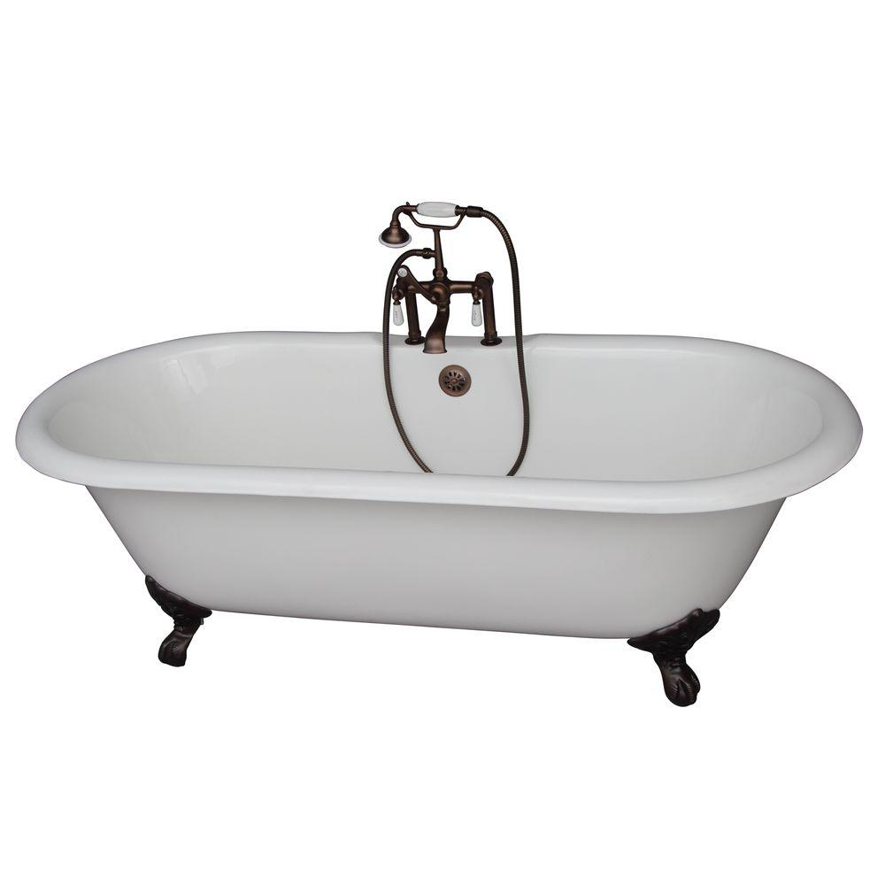 Barclay Products 5.6 ft. Cast Iron Imperial Feet Double Roll Top Tub in White with Oil Rubbed Bronze Accessories