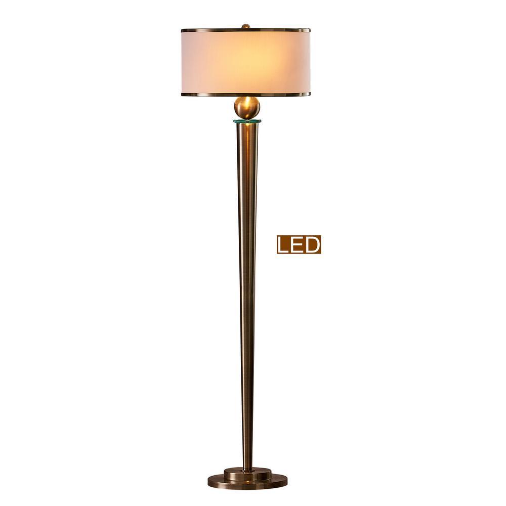 63 in. Antique Satin Brass Venetian LED Floor Lamp