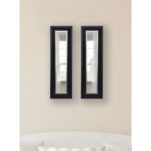 10.5 inch x 36.5 inch Grand Black and Aged Silver Vanity Mirror (Set of 2-Panels) by