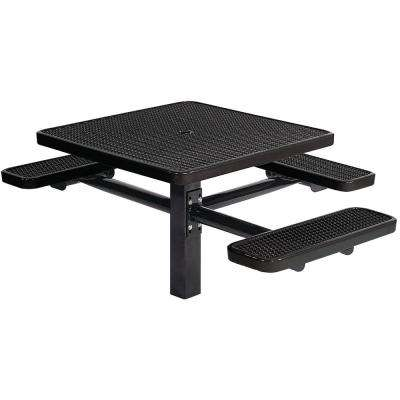 Park 46 in. Black Commercial Square Picnic Table with 3 Seats