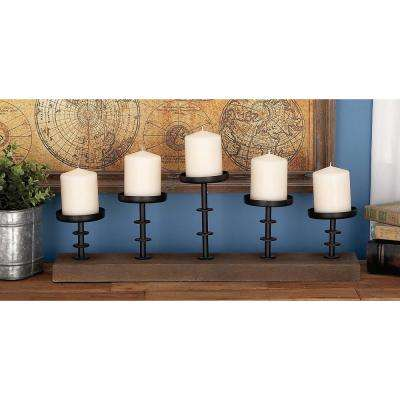 13 in. x 24 in. Rustic Farmhouse Iron, Glass and Mango Wood Candle Holder
