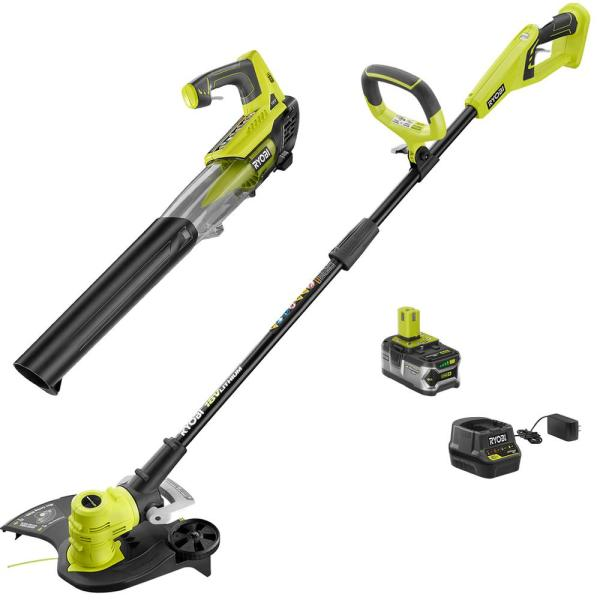 ONE+ 18-Volt Lithium-Ion Cordless String Trimmer/Edger and Jet Fan Blower Combo Kit - 4.0 Ah Battery/Charger Included