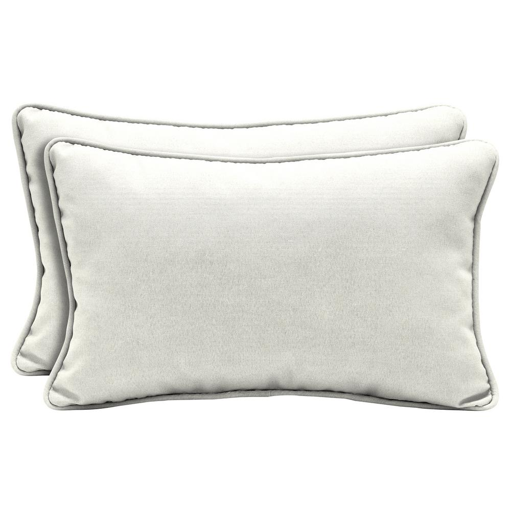 Ordinaire Home Decorators Collection Sunbrella Canvas White Lumbar Outdoor Throw  Pillow (2 Pack)