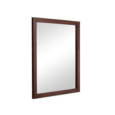 Easton 24 in. Contemporary Mirror with Teak MDF Frame, Rectangle Shape, Mounting Type: Metal Inset Hanger