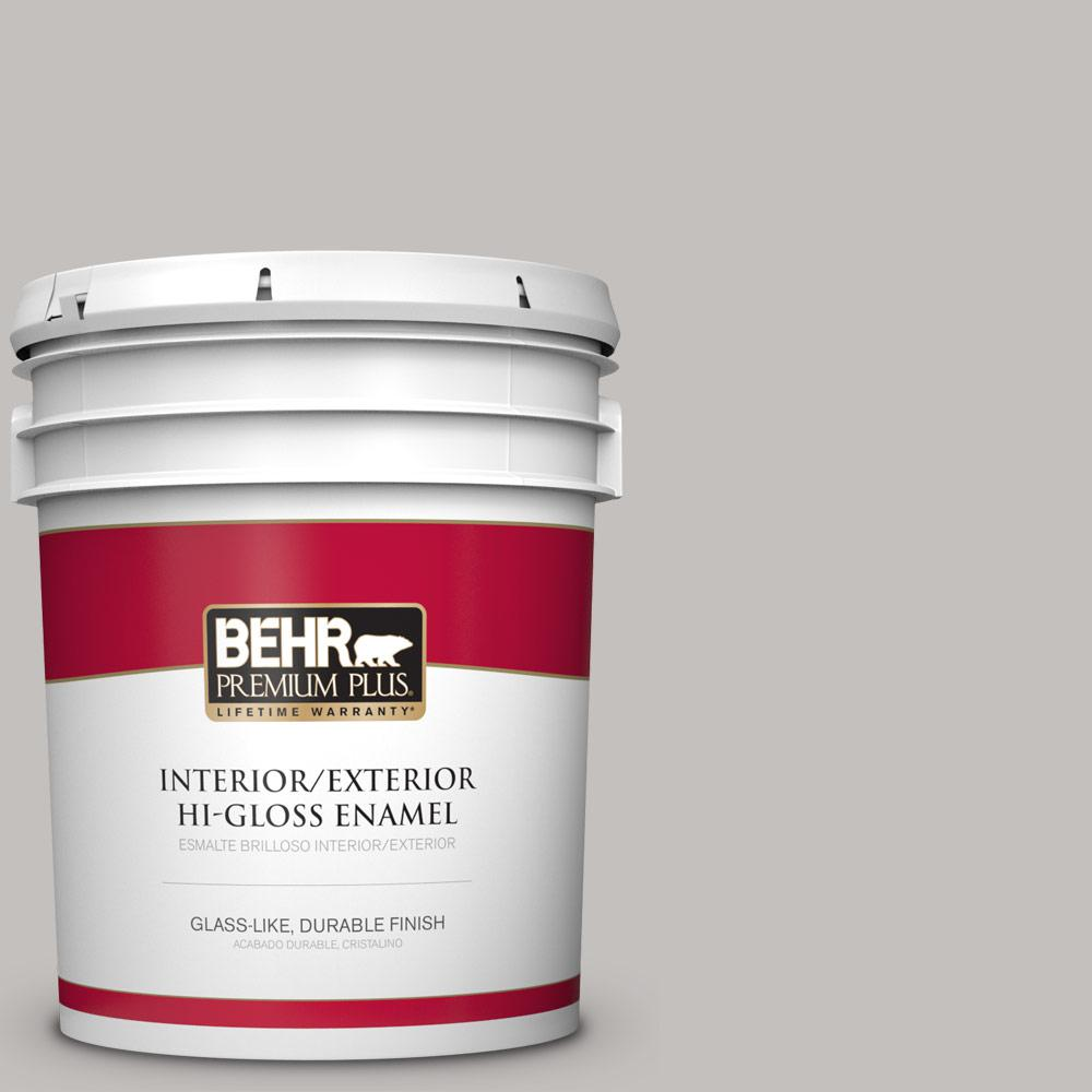 5 gal. #PPU18-10 Natural Gray Hi-Gloss Enamel Interior/Exterior Paint