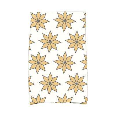 16 in. x 25 in. Gold Christmas Stars-2 Holiday Geometric Print Kitchen Towel