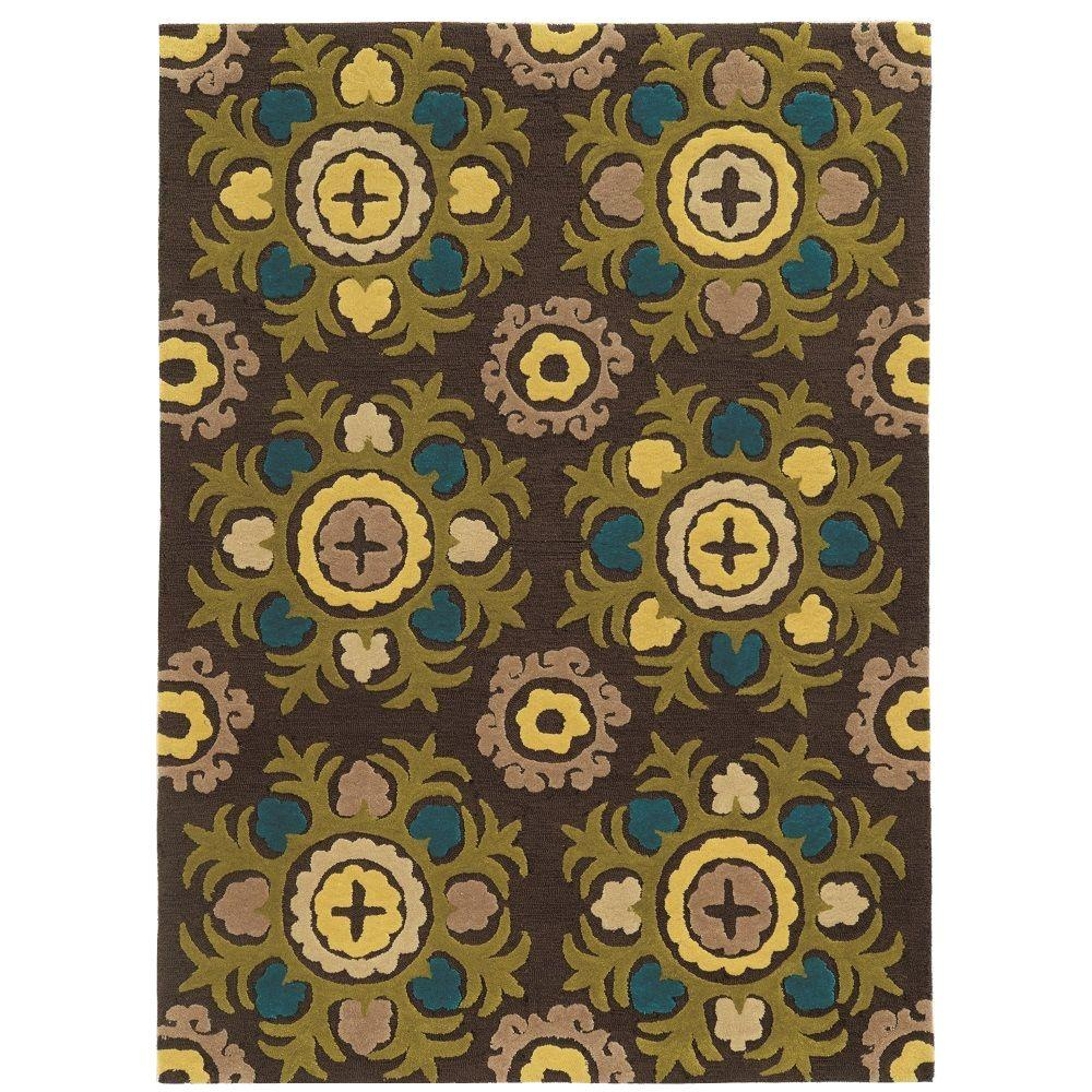 Linon Home Decor Trio Collection Chocolate And Multi 5 Ft X 7 Ft Indoor Area Rug Rug Taf1157