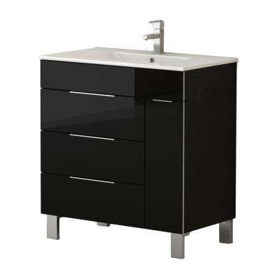 Geminis 28 in. W x 18 in. D x 34 in. H Vanity in Black with Porcelain Top in White with White Basin