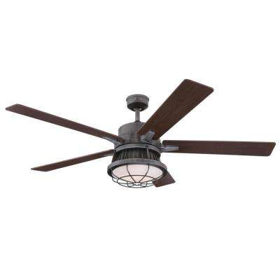 Chambers 60 in. Integrated LED Distressed Aluminum Ceiling Fan with Light Kit and Remote Control
