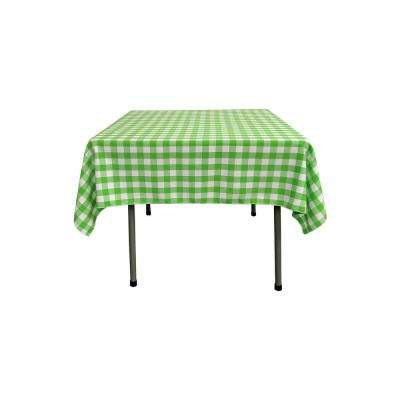 52 in. x 52 in. White and Lime Polyester Gingham Checkered Square Tablecloth