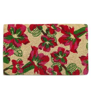 A1HC First Impression Handwoven Wildflowers Extra Thick 18 inch x 30 inch Coir Door Mat by