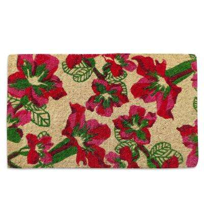 A1HC First Impression Handwoven Wildflowers Extra Thick 18 in. x 30 in. Coir Door Mat