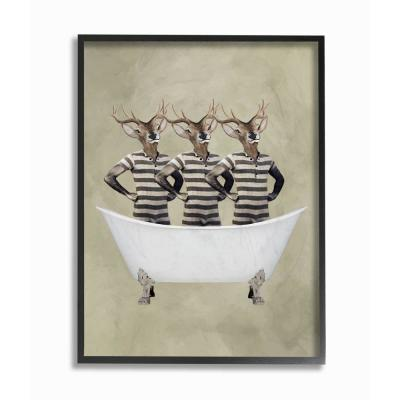 """The Stupell Home Decor Collection 11 in. x 14 in. """"Three Deer Men In A Bathtub"""" by Coco de Paris Framed Wall Art,..."""