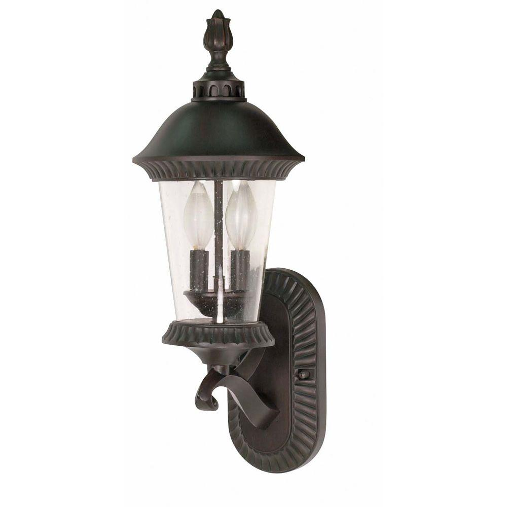Glomar Clarion 3-Light 20 in. Wall Lantern - Arm Up with Clear Seed Glass finished in Chestnut Bronze-DISCONTINUED