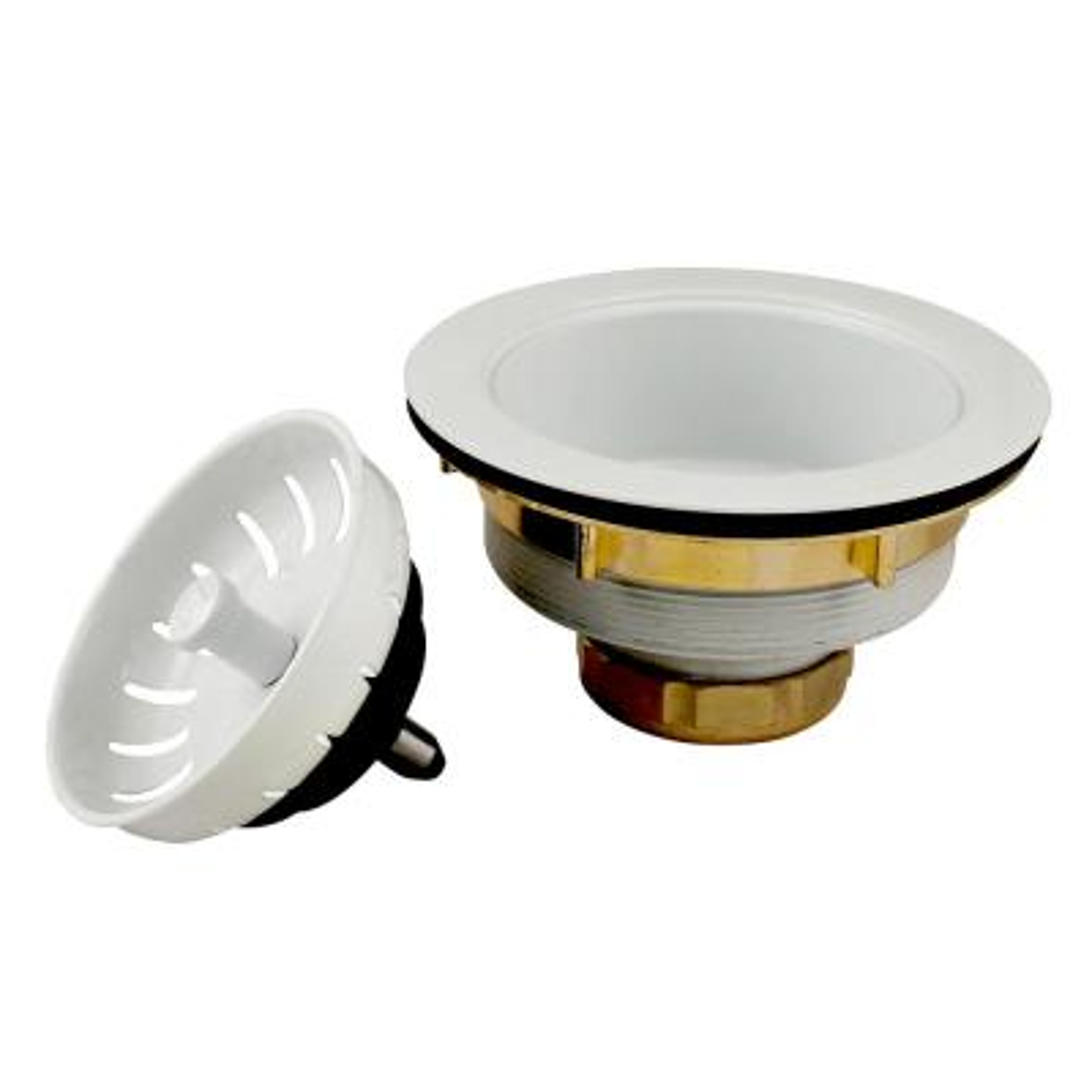 3.5 in. Brass Kitchen Sink Strainer in White