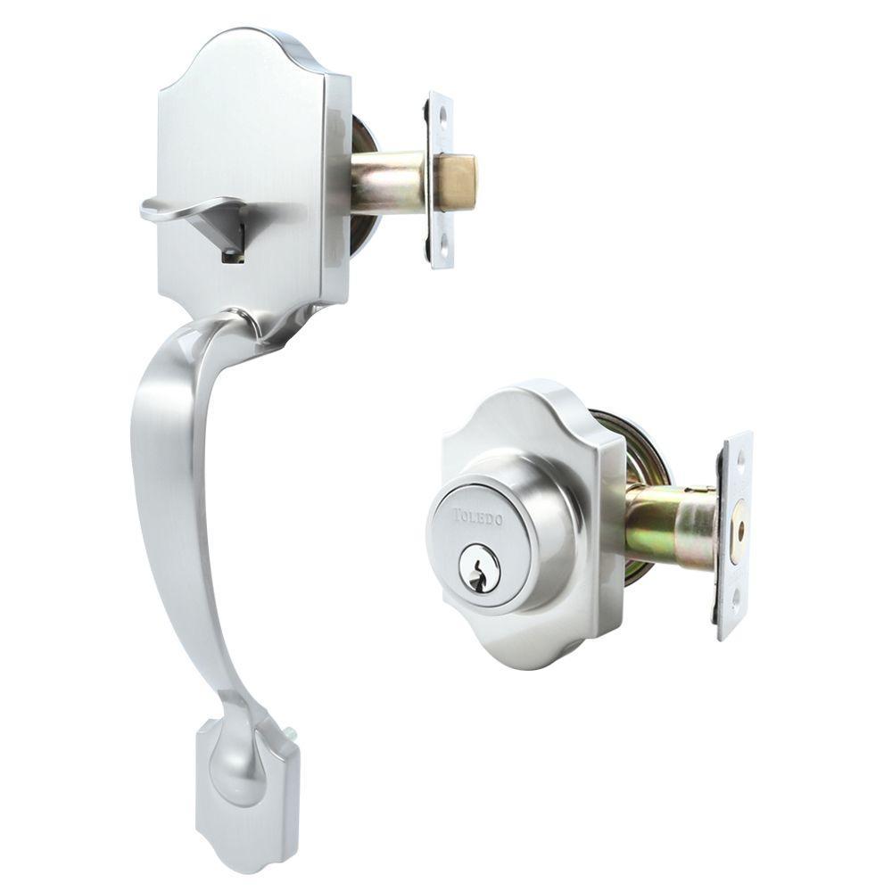 Cordoba Double Cylinder Satin Nickel Door Handleset
