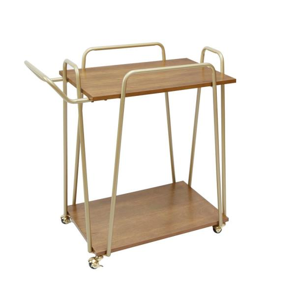 Silverwood Furniture Reimagined Emory 2-Tier Hairpin Gold and Brown Bar Cart