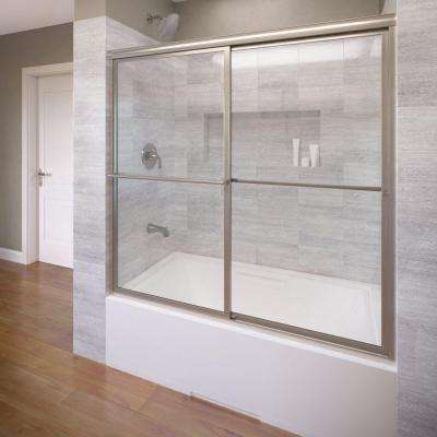 Deluxe 56 in. x 56 in. Framed Sliding Tub Door in Brushed Nickel
