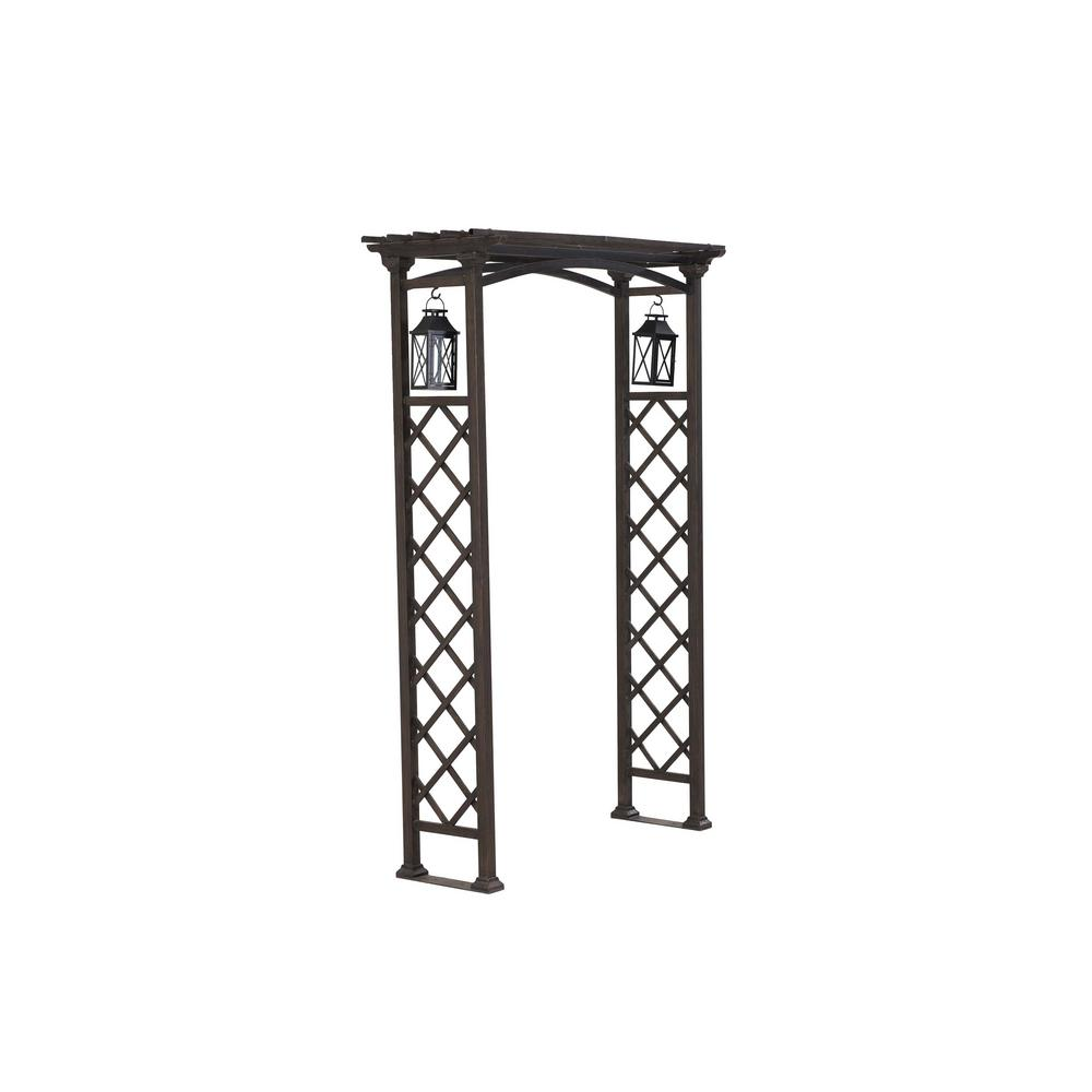 sunjoy 80 in x 48 in metal arbor with lanterns 110305007 the
